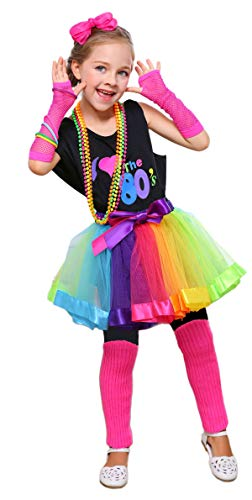 I Love 80s Pop Party Rock Star Child Girl's Costume Accessories Fancy Outfits (7-8, Black)]()