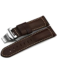 iStrap 24mm Genuine Calf Leather Military Watch Band W/ Polished Deployant for Panerai 44 - Dark Brown