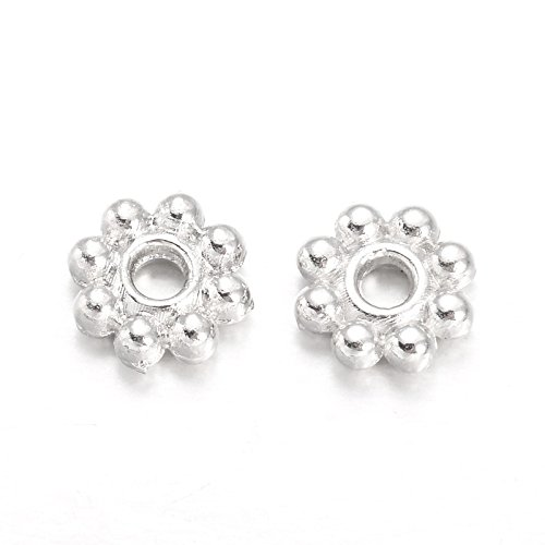 Daisy Shaped Spacer Beads - Beads Direct USA Spacer Beads Daisy Flower Spacers 5mm x 2mm 300 Pcs (Silver Plated)