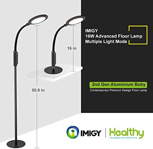 Floor Lamp 16W 3rd Gen LED Lamp, IMIGY 900 Lumens Flexible Gooseneck Office Work Light with Touch Control Panel, 5-Level Brightness and 4 Color Temperature Dimmable Eye-Care Technology Light, Black