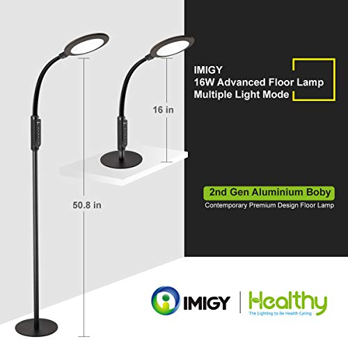Floor Lamp 16W 3rd Gen LED Lamp, IMIGY 900 Lumens Flexible Gooseneck Office Work Light with Touch Control Panel, 5-Level Brightness and 4 Color Temperature Dimmable Eye-Care Technology Light, Black ()