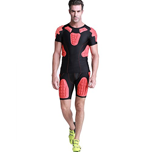 Chest Ribs Shoulders Collarbones Padded Sport T-shirt & Hip Thigh Padded Short for Rugby Basketball Football Paintball Cycling and Other Contact Sports (Red Shirt and Short, XL)