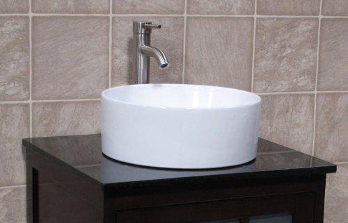 Black Vanity Cabinet Vessel Sink: 24″ Bathroom Vanity Cabinet Black Granite Top Ceramic