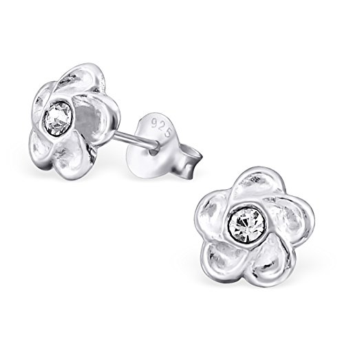 Price comparison product image Hypoallergenic Flower Stud Earrings for Girls (Nickel Free and Safe for Sensitive Ears) - Crystal