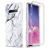SURITCH Case for Galaxy S10 Plus [Built-in Screen Protector] Natural Marble Full-Body Protection Shockproof Rugged Cover for Samsung S10 Plus [Compatible with Fingerprint Sensor] (Black Marble)