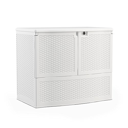 Suncast VDB19500WSD Backyard Oasis Storage And Entertaining Station, White (White Outdoor Resin Benches)