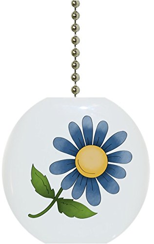 Carolina Hardware and Decor 1934F Blue Flower Floral Country Solid Ceramic Fan Pull