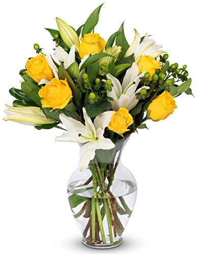 Benchmark Bouquets Yellow Elegance, With Vase (Fresh Cut Flowers) (Daisy Flowers Fresh)