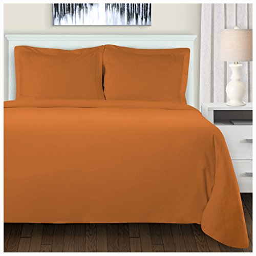 Superior Extra Soft Highest Quality All Season 100% Brushed Cotton Flannel Solid Bedding Duvet Cover Set - Pumpkin, King/California King ()