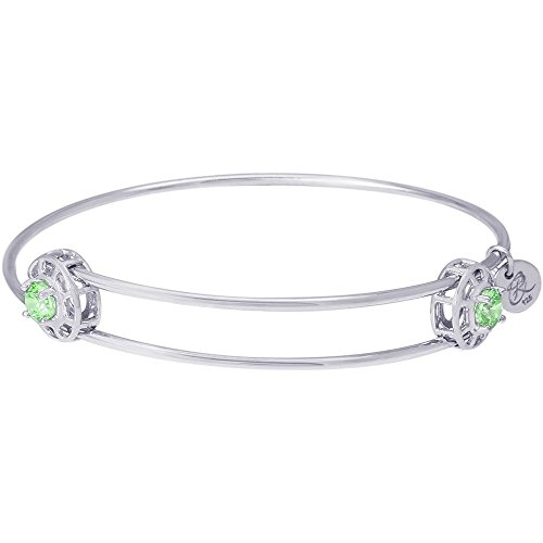 (Rembrandt Charms, August Insightful Bangle Charm Bracelet, .925 Sterling Silver, Swarovski Cut Cubic Zirconia )