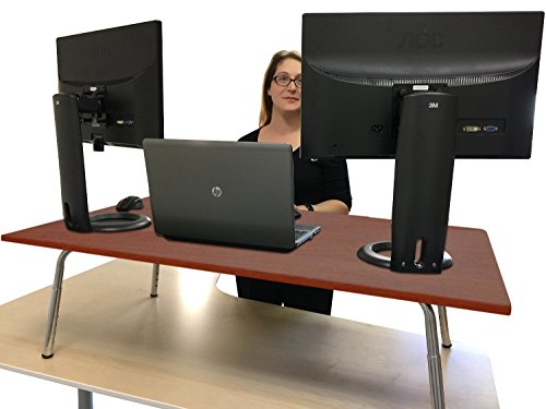 Mega stand steady standing desk extra large work surface largest stand up desk converter - Works to office converter ...