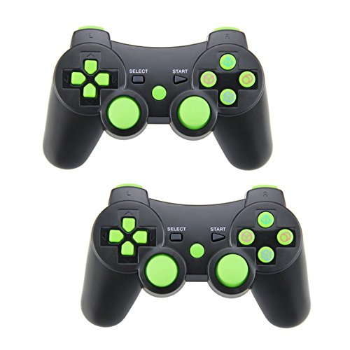 Ps3 Pad Wireless (Pack of 2 PomeMall PS3 Wireless Controller Gamepad Bluetooth Dualshock Joystick Sixaxis Remote for Sony PlayStation 3 PS3, Raspberry Pi 3)
