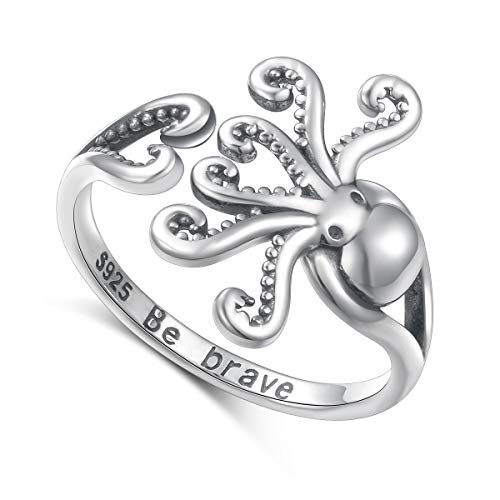 DAOSHANG Sea Jewelry S925 Sterling Silver Octopus Ring New Pirate Octopus Tentacles Black Opening Ring Cute Sea Animal Ring for Women Girls -