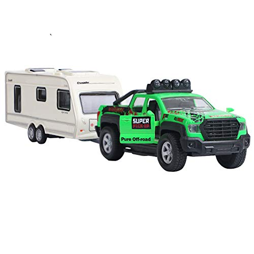 Ailejia Truck Toy Alloy Pull Back Cars Diecast Model Car with Sound and Light for Kids Toys (Green)