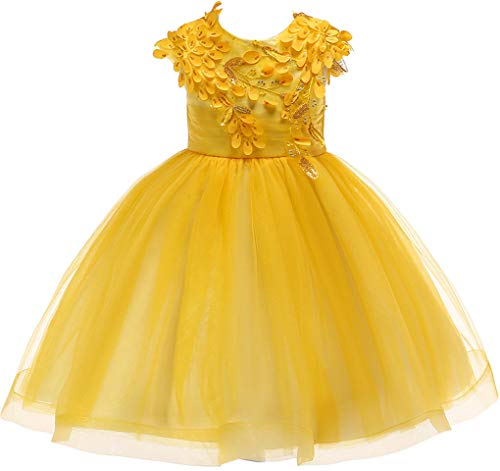 Shiny Toddler Little Girls Sequins Flower Applique Beaded Wedding Bridesaid Pageant Dress,Yellow,2-3