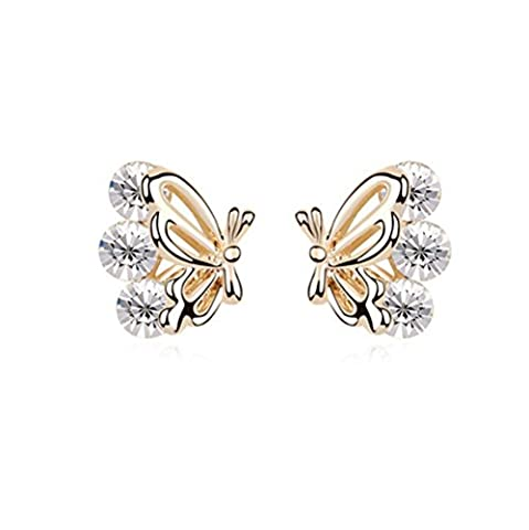 Gorgeous Jewelry Butterfly Wings Diamond Accented Style Beautiful White Crystal Champagne Gold Plated Color Females Stud (Butterfly Jewelry Dish)