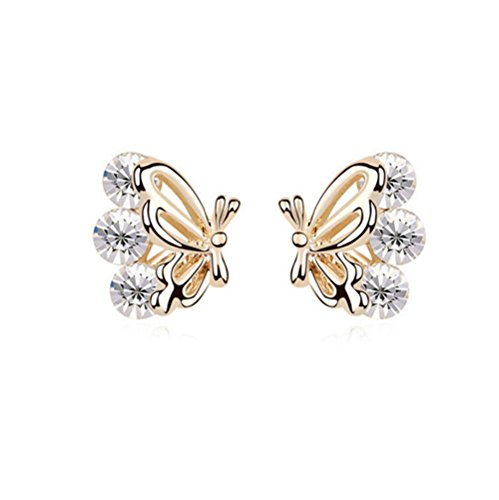 Price comparison product image Gorgeous Jewelry Butterfly Wings Diamond Accented Style Beautiful White Crystal Champagne Gold Plated Color Females Stud Earring