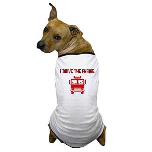 CafePress - I Drive The Engine Dog T-Shirt - Dog T-Shirt, Pet Clothing, Funny Dog Costume (Dog Firefighter Costume)