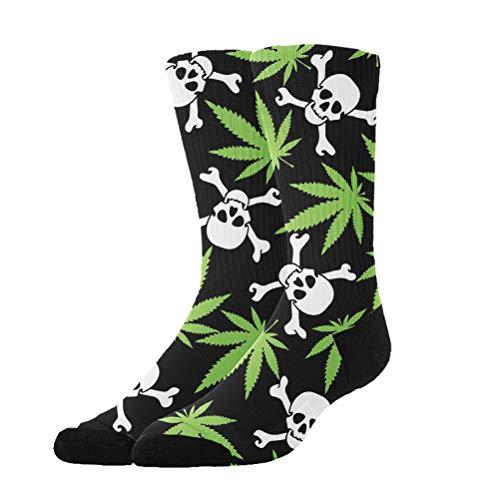 (NEWINESS Adults Teenagers Thick Warm Compression Socks Cotton Long Tube Sports Football Skiing Marijuana Weed Skull Crossbones Black Socks )