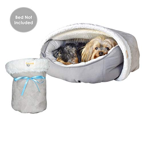 BedHug | Pet Burrow Blanket | for Dogs & Cats | Naturally Relieves Stress, Separation Anxiety & Nervousness | Ultra Cozy & Plush | Attaches to Your Own Pet Bed | Grey, Small