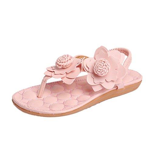 Sandalias del ms, Tefamore Mujer zapatos planos vendaje Bohemia ocio sandalias de señora Peep-Toe zapatos al aire libre Rosado