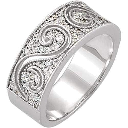 Anniversary Band Etruscan - Bonyak Jewelry 14k White Gold 1/2 CTW Diamond Etruscan Anniversary Band - Size 7