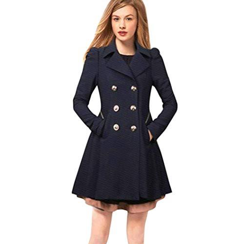 Femme ete Automne Tops Simple Grande Taille Courte Chic Vintage Fashion Long Parka Manteau col de Revers de l'hiver Manteau de Trench-Coat Chaud Marine
