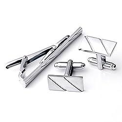 PiercingJ 3pcs Men's Stainless Steel Exquisite GQ Cufflink and Tie Clip Set