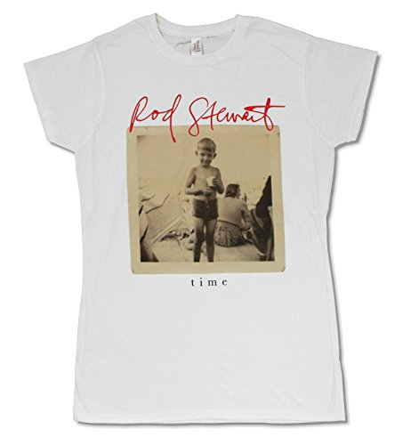 Ladies White Baby Doll Tee - Juniors Rod Stewart Time White Baby Doll T Shirt (Small)