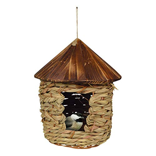 Songbird Essentials SE10355 Large Hanging Grass Twine House with Roof (Set of 1)