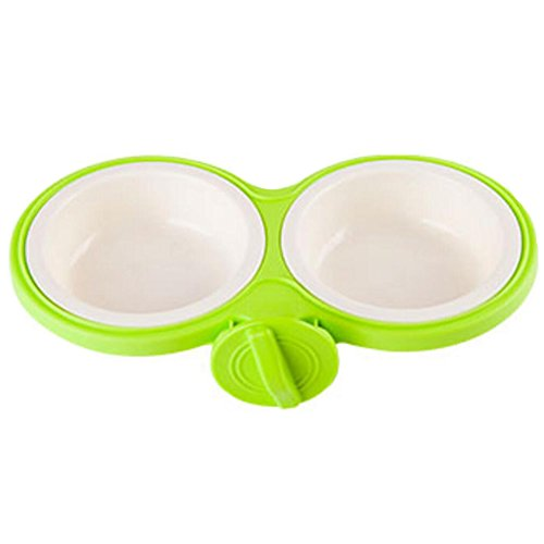 Fixable Pets Double Bowls Dogs Cats Bowls Pet Supplies Cat Accessories - Green