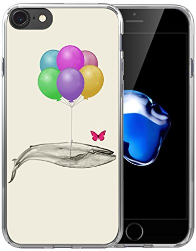 Case for iPhone 7 Whale Design/Case for iPhone 8/IWONE Designer Non Slip Rubber Durable Protective Skin Cover Shockproof Compatible for iPhone 7/8 Kawaii Whale Creative Funny Animal Pattern