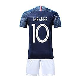 SIBEI Coupe du Monde de Football FFF à Domicile Champion du Maillot 2018 de la Coupe du Monde T-Shirt et Short Double étoile, MBAPPE/Griezmann/Pogba
