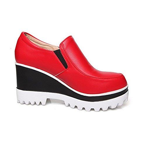 Amoonyfashion Femmes Solides Pu Talons Hauts Rond Fermé Orteil Tirer Sur Pompes-chaussures Rouge