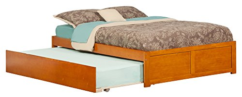 Atlantic Furniture Concord Flat Panel Foot Board with Urban Trundle Bed, Full, Caramel (Full Flat Panel Drawer)