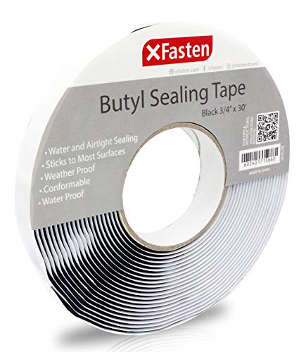 (XFasten Black Butyl Seal Tape 1/8-Inch x 3/4-Inch x 30-Foot Leak Proof Putty Tape for RV Repair, Window, Boat Sealing, Glass and EDPM Rubber Roof Patching)