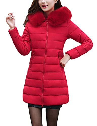 Capucha Slim De Sólido Grande Caliente Con Piel Rojo Espesar Color Larga Mujeres Abrigos Talla Parkas Mujer Casuales Pluma Manga Invierno Fit Plumas 6a8qwv0w