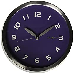 DecoMates Non-Ticking Silent Wall Clock, Early Spring, Dark Purple