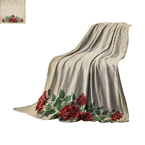 Custom homelife Throw Blanket Shabby Chic,Vintage Glamour Background with Red Rose Love and Attraction Symbol Delicacy,Beige Green Warm Blanket Bed or Couch 50