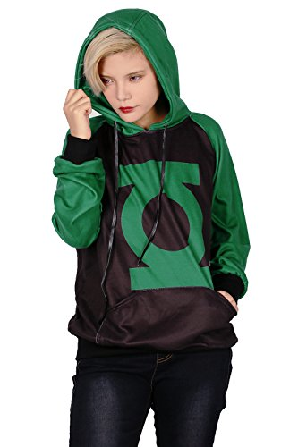 Xcoser Lantern Green Logo Hoodie Pullover Sweater Halloween Cosplay Costume XXL (Green Lantern Womens Costume)