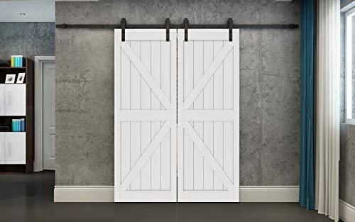 DIYHD 13FT Double Sliding Barn Door Hardware with 38X84″ White MDF Door Panel