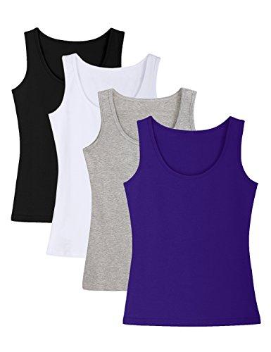 ADAMARIS Cotton Camisoles For Women Tank Tops For Women Pack Camis Vest White Red (Aurora Tank)