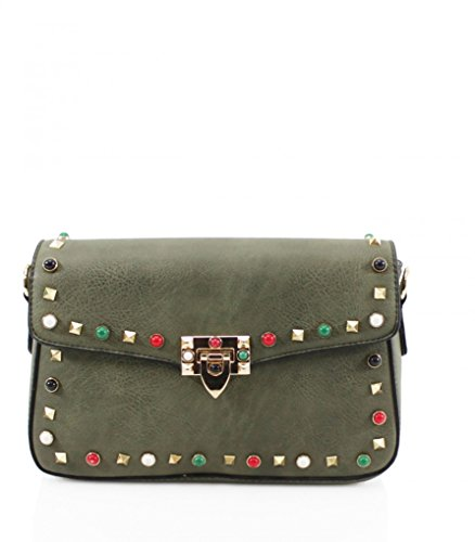 Studded Leather Shoulder Designer 211 Crossbody Green Bag Holiday Dark Bags Studded Women's Bag LeahWard Faux Handbags For Z0qYA