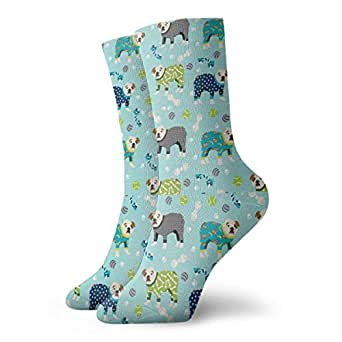Cute English Bulldog Pajamas Customized Crew Socks Winter