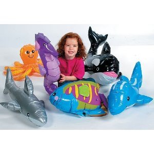 UNDER THE SEA INFLATABLES: WHALE, DOLPHIN, OCTOPUS, SHARK, RAINBOW FISH, AND SEA HORSE! by Fun Express (Fish Themed Party Supplies compare prices)