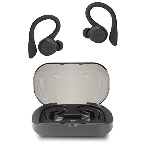 iLive IAEBTW59B Truly Wireless Bluetooth Earbuds, Sporty Hook, Charging Case, IPX Waterproof, Neon Yellow Black