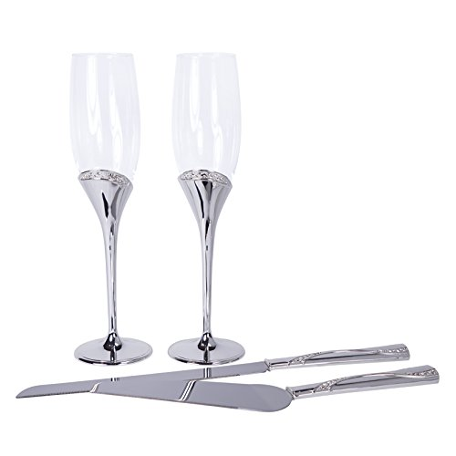 Regal Collection Toasting Flutes & Cake Serving Set in Silver