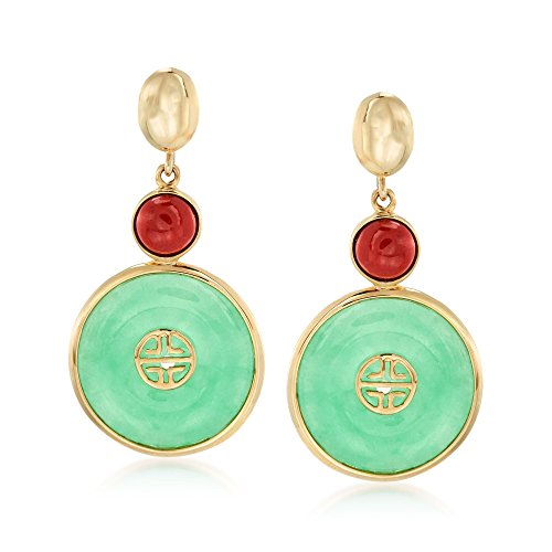 """Ross-Simons Green and Red Jade Chinese""""Long Life"""" Symbol Drop Earrings in 14kt Yellow Gold"""