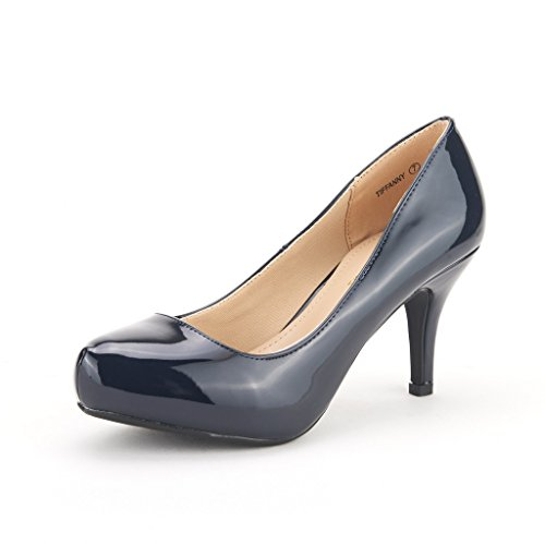 DREAM PAIRS Tiffany Women's New Classic Elegant Versatile Low Stiletto Heel Dress Platform Pumps Shoes Navy-Patent Size 5.5