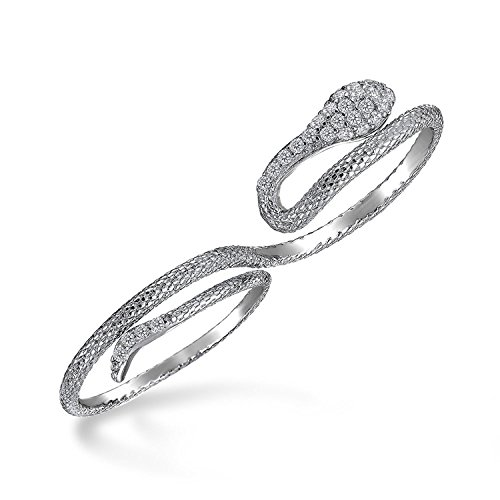 Boho Cubic Zirconia Fashion Statement CZ Pave Serpent Snake Two Finger Ring For Teen For Women 925 Sterling Silver